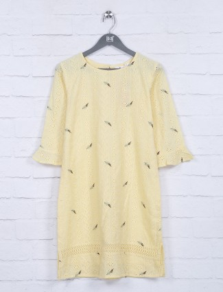Yellow color cotton casual occasion top