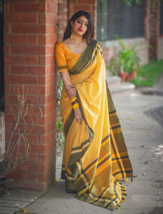 Yellow color cotton fabric simple saree