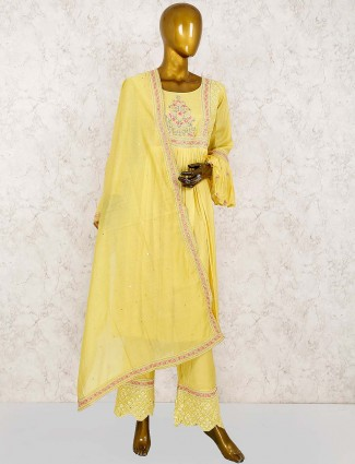 Yellow color cotton silk festive punjabi salwar suit