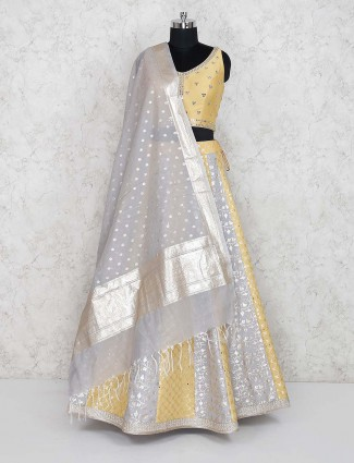 Yellow color cotton silk wedding lehenga choli