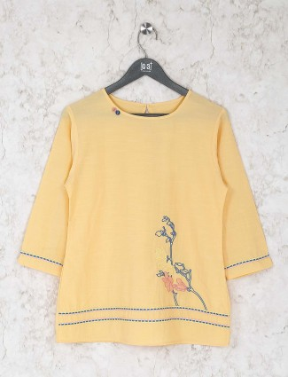 Yellow color cotton top for women