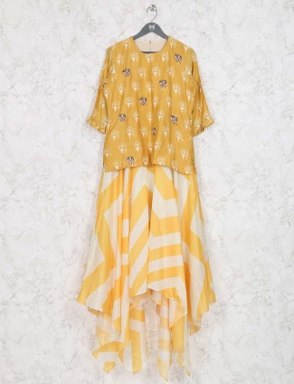 Yellow color festive wear printed kurti