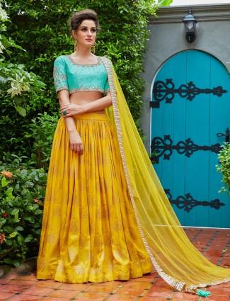 Yellow color georgette fabric lehenga choli