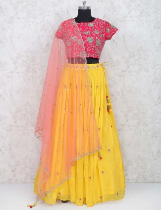 Yellow color georgette wedding lehenga choli