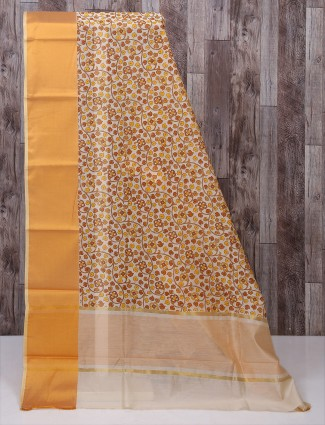 Yellow color printed saree
