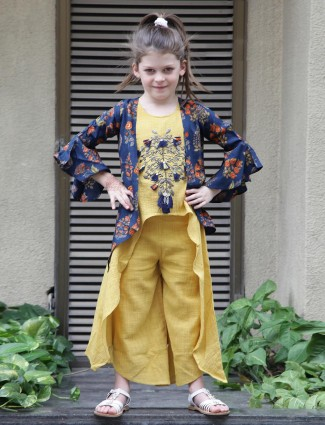 Yellow color punjabi palazzo suit for girls