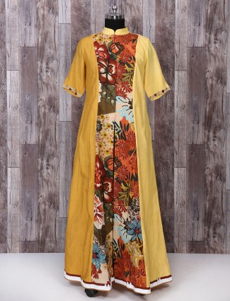 Yellow color silk party wear palazzo suit