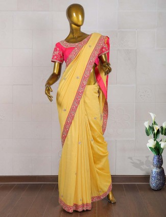 Yellow color silk wedding sari