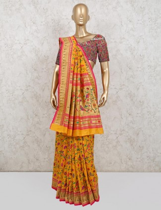 Yellow colored banarasi silk saree