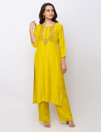 Yellow cotton casual round neck pant suit
