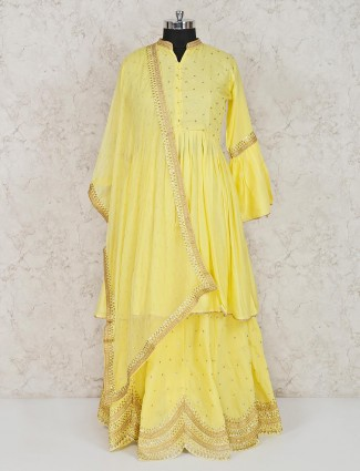 Yellow cotton chinese neck punjabi lehenga suit