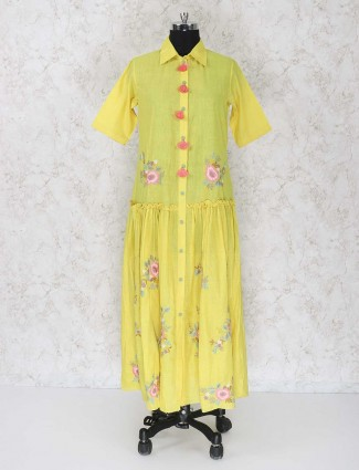 Yellow cotton fabric salwar suit
