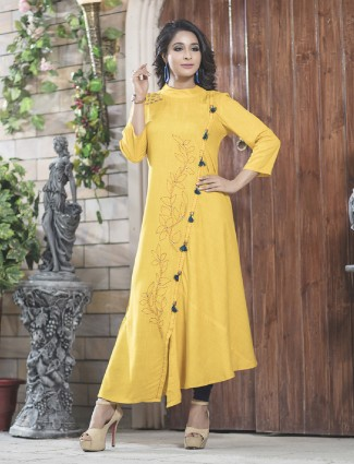 Yellow cotton festive kurti