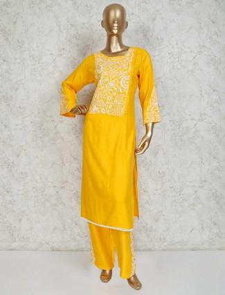 Yellow cotton festive pant kurti set
