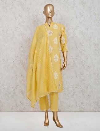 Yellow cotton festive pant style suit