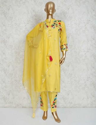 Yellow cotton festive pant suit