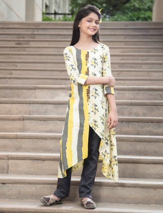 Yellow cotton printed design round neck pant suit