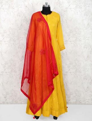 Yellow cotton silk lovely floor length anarkali salwar suit