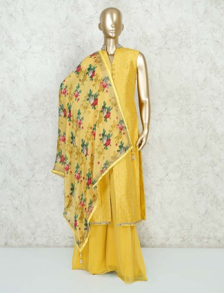 Yellow cotton silk palazzo suit set with printed dupatta