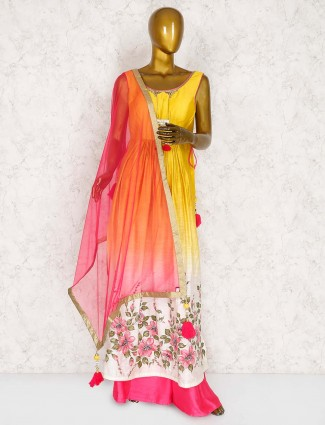 Yellow cotton silk punjabi designer palazzo suit