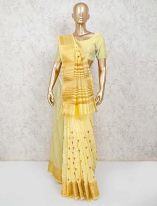 Yellow cotton silk saree in festive