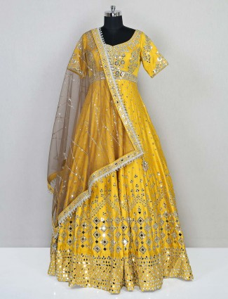 Yellow cotton silk wedding wear gown