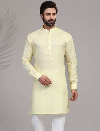 Yellow cotton stand collar only kurta