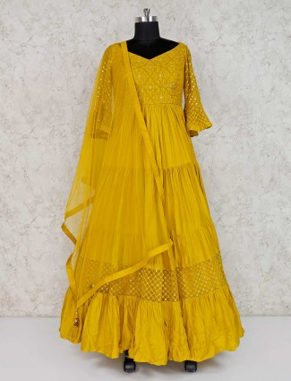 Yellow designer cotton floor length anarkali suit