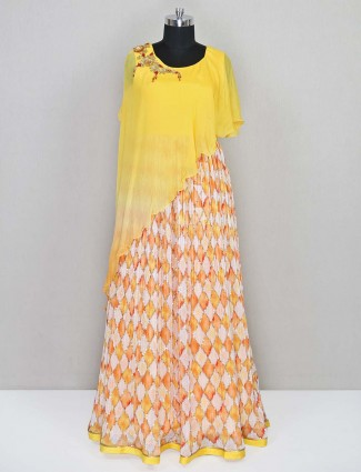 Yellow designer georgette salwar kameez for wedding