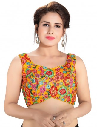 Yellow designer readymade blouse in raw silk