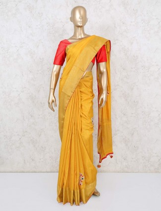Yellow dola silk saree for parties