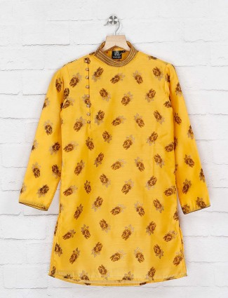 Yellow flower printed kurta suit for party