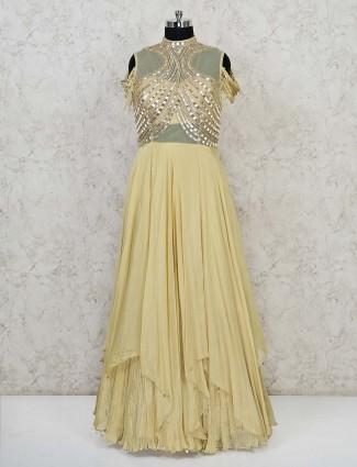 Yellow georgette asymmetric hem gown