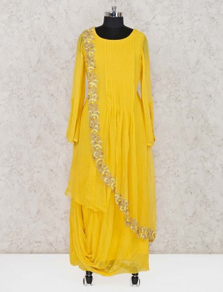 Yellow georgette festive wear salwar suit