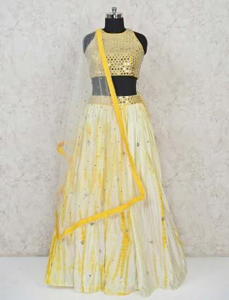 Yellow georgette lehenga choli special for wedding