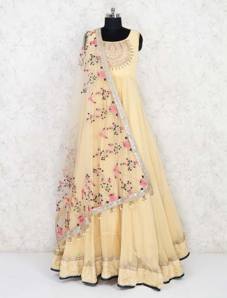 Yellow georgette party gown