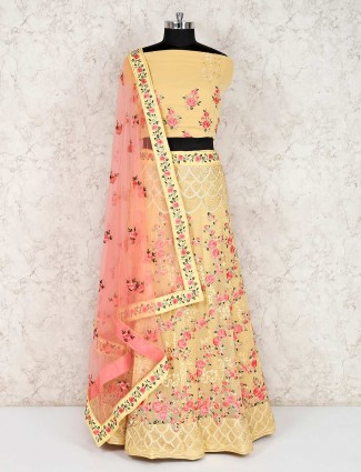 Yellow georgette semi stitched wedding lehenga choli