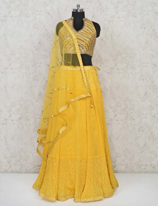 Yellow georgette wedding day lehenga choli