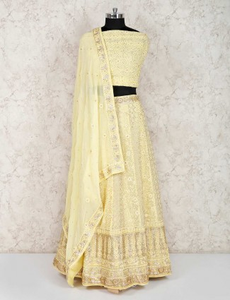 Yellow georgette wedding semi stitched lehenga choli