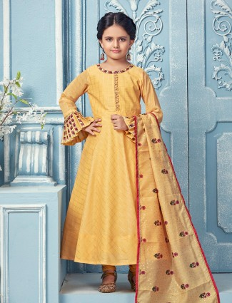 Yellow hue checks pattern anarkali suit