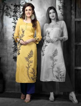 Yellow hue cotton silk festive kurti