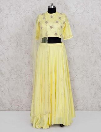 Yellow hue cotton silk pretty lehenga cum salwar suit