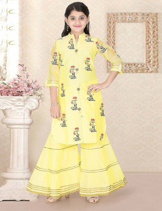 Yellow hue cotton silk punjabi sharara suit