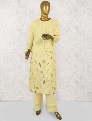 Yellow hue jacket style salwar suit incotton