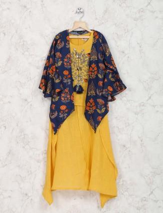 Yellow hue jacket style girls palazzo suit