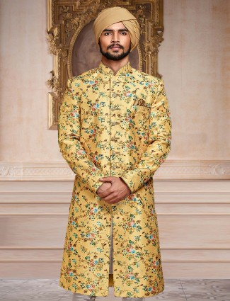 Yellow hue party wear indo western