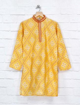 Yellow hue printed vented hem kurta suit