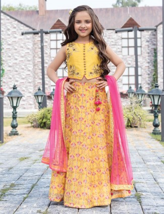 Yellow lehenga choli for little girl