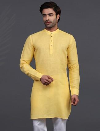 Yellow linen full sleeeves only kurta