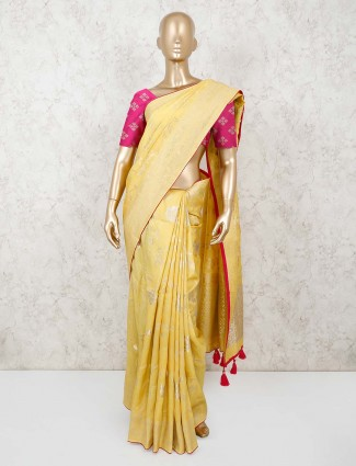Yellow munga silk for wedding
